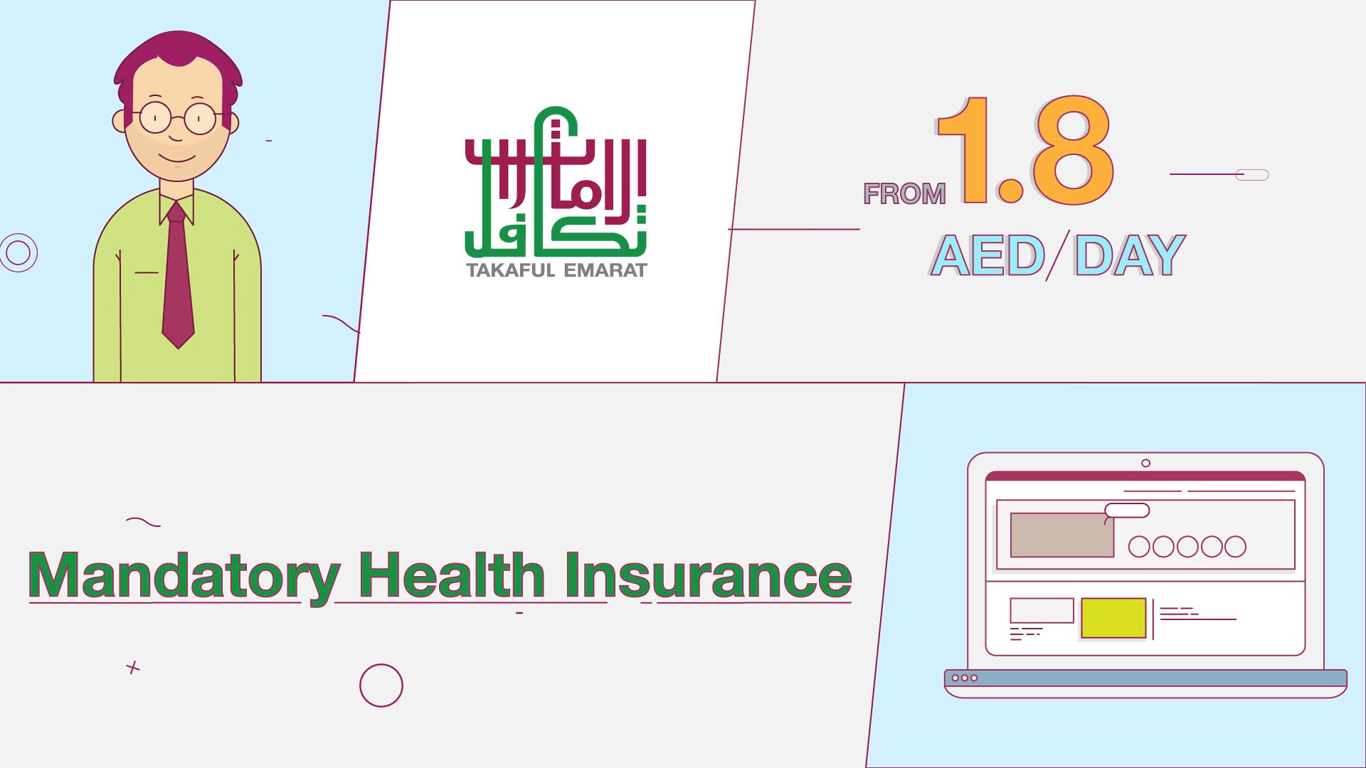Social media video used by Dubai based insurance company made by We Are Alive, an animation studio in Dubai and the UK
